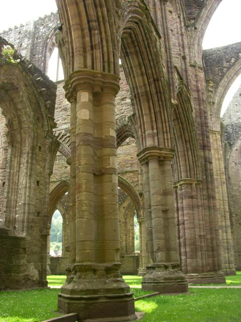Nave of the church at Tintern showing the clustered piers