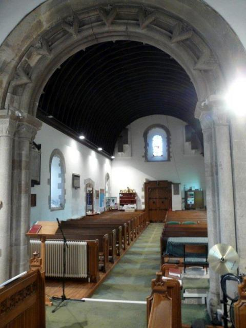 Interior of the reconstructed church at Malpas