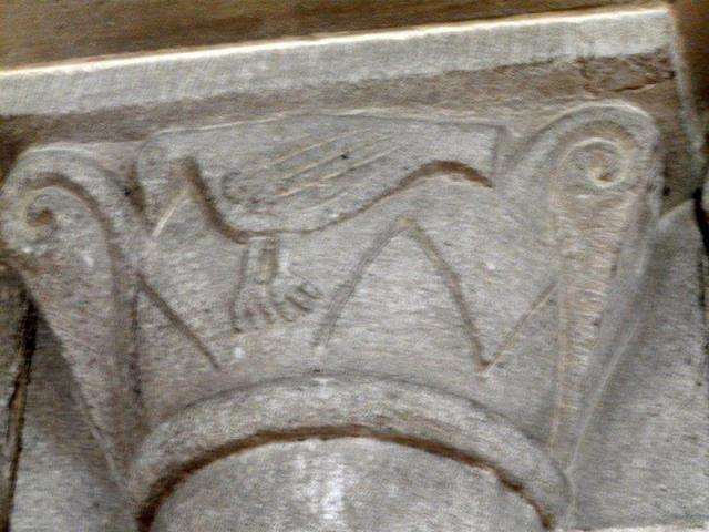 Capital from the former priory church at Malpas