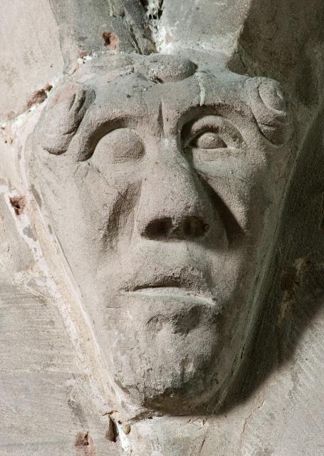 Corbel head, Church of St Peter and St Meugan, Ruthin