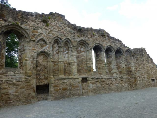 West wall in the monks' refectory