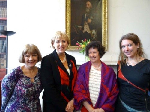Janet and Karen with Edel Bhreathnach and the minister for the Arts, Heritage and the Gaeltacht in Ireland.